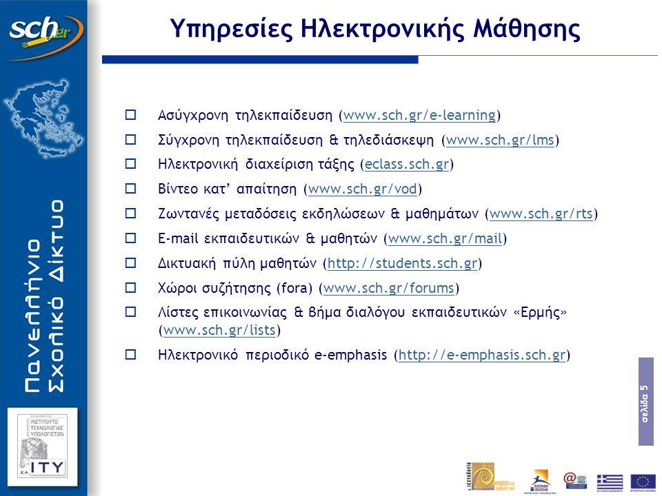 σελίδα 5 Υπηρεσίες Ηλεκτρονικής Μάθησης  Ασύγχρονη τηλεκπαίδευση (www.sch.gr/e-learning)www.sch.gr/e-learning  Σύγχρονη τηλεκπαίδευση & τηλεδιάσκεψη (www.sch.gr/lms)www.sch.gr/lms  Ηλεκτρονική διαχείριση τάξης (eclass.sch.gr)eclass.sch.gr  Βίντεο κατ' απαίτηση (www.sch.gr/vod)www.sch.gr/vod  Ζωντανές μεταδόσεις εκδηλώσεων & μαθημάτων (www.sch.gr/rts)www.sch.gr/rts  E-mail εκπαιδευτικών & μαθητών (www.sch.gr/mail)www.sch.gr/mail  Δικτυακή πύλη μαθητών (http://students.sch.gr)http://students.sch.gr  Χώροι συζήτησης (fora) (www.sch.gr/forums)www.sch.gr/forums  Λίστες επικοινωνίας & βήμα διαλόγου εκπαιδευτικών «Ερμής» (www.sch.gr/lists)www.sch.gr/lists  Ηλεκτρονικό περιοδικό e-emphasis (http://e-emphasis.sch.gr)http://e-emphasis.sch.gr