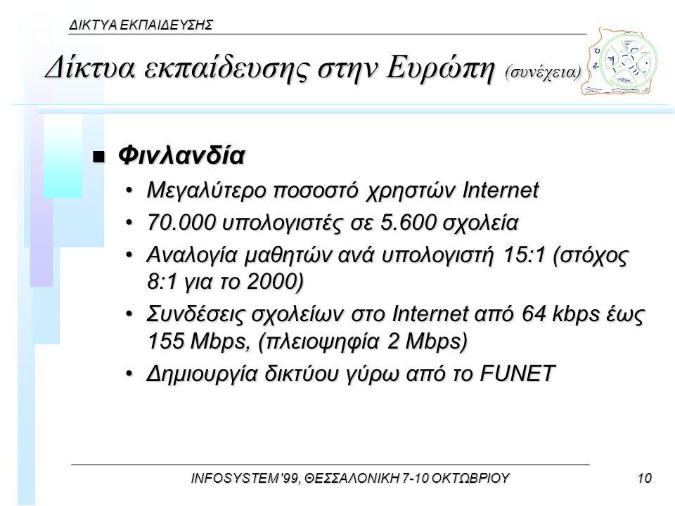 INFOSYSTEM 99, ΘΕΣΣΑΛΟΝΙΚΗ 7-10 ΟΚΤΩΒΡΙΟΥ10 ΔΙΚΤΥΑ ΕΚΠΑΙΔΕΥΣΗΣ Δίκτυα εκπαίδευσης στην Ευρώπη (συνέχεια) n Φινλανδία Μεγαλύτερο ποσοστό χρηστών InternetΜεγαλύτερο ποσοστό χρηστών Internet 70.000 υπολογιστές σε 5.600 σχολεία70.000 υπολογιστές σε 5.600 σχολεία Αναλογία μαθητών ανά υπολογιστή 15:1 (στόχος 8:1 για το 2000)Αναλογία μαθητών ανά υπολογιστή 15:1 (στόχος 8:1 για το 2000) Συνδέσεις σχολείων στο Internet από 64 kbps έως 155 Mbps, (πλειοψηφία 2 Mbps)Συνδέσεις σχολείων στο Internet από 64 kbps έως 155 Mbps, (πλειοψηφία 2 Mbps) Δημιουργία δικτύου γύρω από το FUNETΔημιουργία δικτύου γύρω από το FUNET