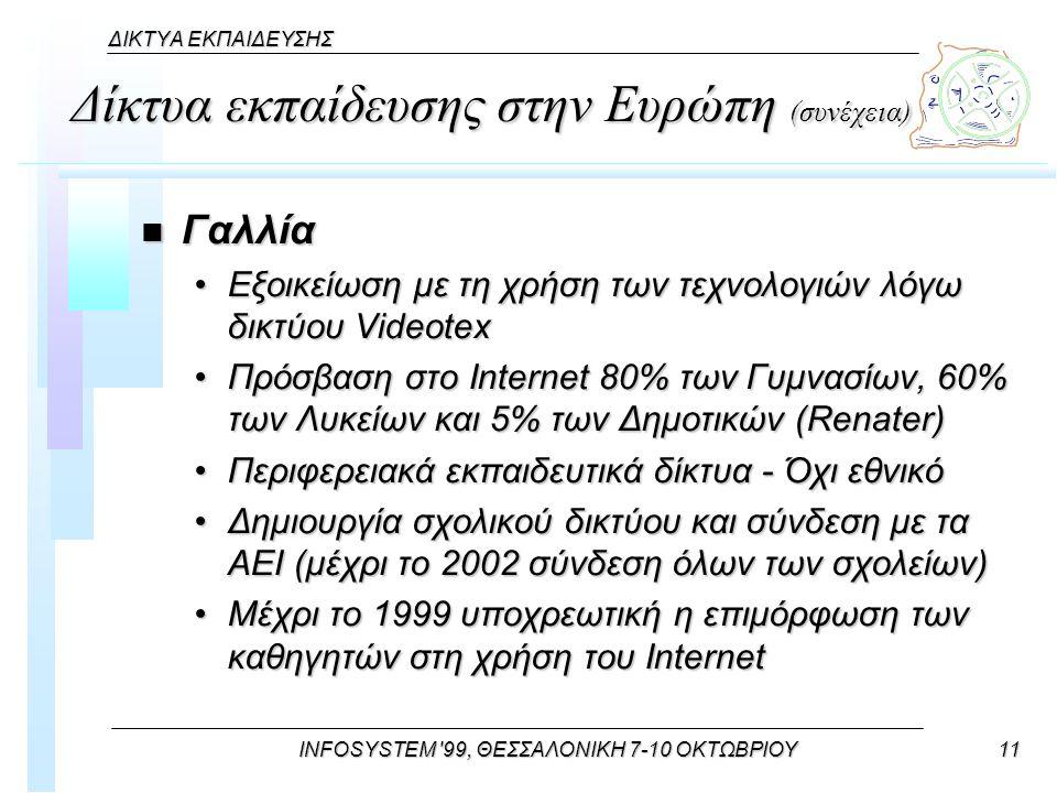 INFOSYSTEM 99, ΘΕΣΣΑΛΟΝΙΚΗ 7-10 ΟΚΤΩΒΡΙΟΥ11 ΔΙΚΤΥΑ ΕΚΠΑΙΔΕΥΣΗΣ Δίκτυα εκπαίδευσης στην Ευρώπη (συνέχεια) n Γαλλία Εξοικείωση με τη χρήση των τεχνολογιών λόγω δικτύου VideotexΕξοικείωση με τη χρήση των τεχνολογιών λόγω δικτύου Videotex Πρόσβαση στο Internet 80% των Γυμνασίων, 60% των Λυκείων και 5% των Δημοτικών (Renater)Πρόσβαση στο Internet 80% των Γυμνασίων, 60% των Λυκείων και 5% των Δημοτικών (Renater) Περιφερειακά εκπαιδευτικά δίκτυα - Όχι εθνικόΠεριφερειακά εκπαιδευτικά δίκτυα - Όχι εθνικό Δημιουργία σχολικού δικτύου και σύνδεση με τα ΑΕΙ (μέχρι το 2002 σύνδεση όλων των σχολείων)Δημιουργία σχολικού δικτύου και σύνδεση με τα ΑΕΙ (μέχρι το 2002 σύνδεση όλων των σχολείων) Μέχρι το 1999 υποχρεωτική η επιμόρφωση των καθηγητών στη χρήση του InternetΜέχρι το 1999 υποχρεωτική η επιμόρφωση των καθηγητών στη χρήση του Internet