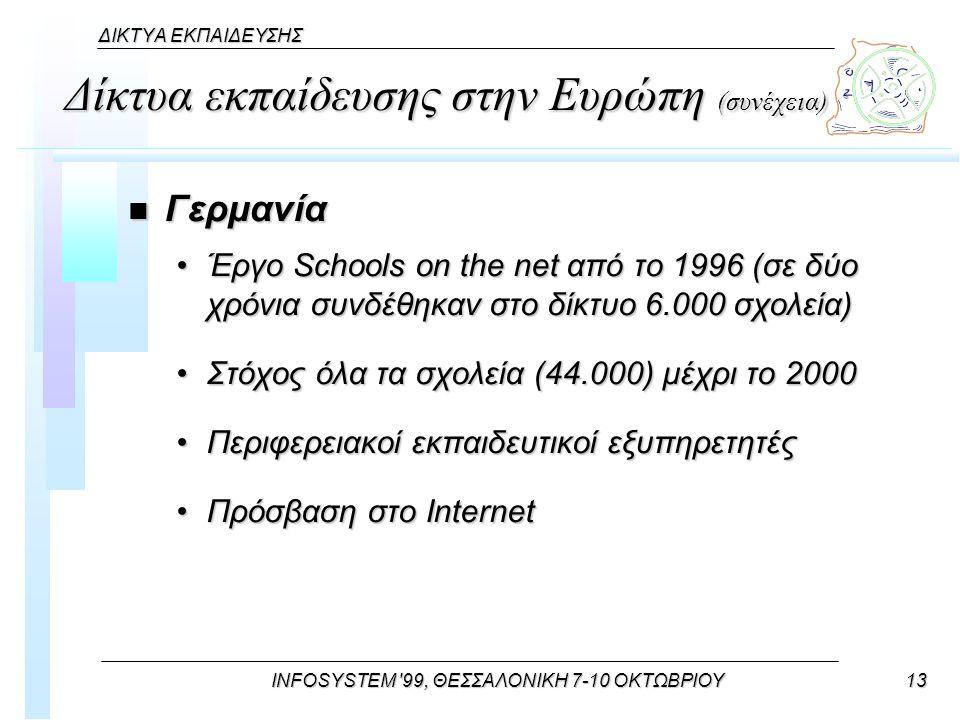 INFOSYSTEM 99, ΘΕΣΣΑΛΟΝΙΚΗ 7-10 ΟΚΤΩΒΡΙΟΥ13 ΔΙΚΤΥΑ ΕΚΠΑΙΔΕΥΣΗΣ Δίκτυα εκπαίδευσης στην Ευρώπη (συνέχεια) n Γερμανία Έργο Schools on the net από το 1996 (σε δύο χρόνια συνδέθηκαν στο δίκτυο 6.000 σχολεία)Έργο Schools on the net από το 1996 (σε δύο χρόνια συνδέθηκαν στο δίκτυο 6.000 σχολεία) Στόχος όλα τα σχολεία (44.000) μέχρι το 2000Στόχος όλα τα σχολεία (44.000) μέχρι το 2000 Περιφερειακοί εκπαιδευτικοί εξυπηρετητέςΠεριφερειακοί εκπαιδευτικοί εξυπηρετητές Πρόσβαση στο InternetΠρόσβαση στο Internet