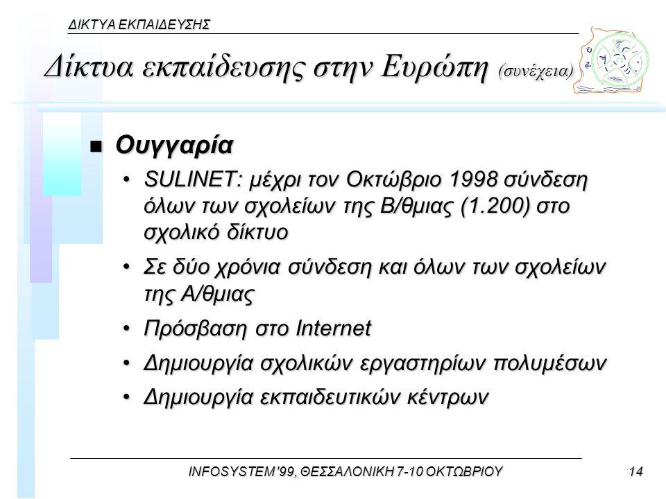 INFOSYSTEM 99, ΘΕΣΣΑΛΟΝΙΚΗ 7-10 ΟΚΤΩΒΡΙΟΥ14 ΔΙΚΤΥΑ ΕΚΠΑΙΔΕΥΣΗΣ Δίκτυα εκπαίδευσης στην Ευρώπη (συνέχεια) n Ουγγαρία SULINET: μέχρι τον Οκτώβριο 1998 σύνδεση όλων των σχολείων της Β/θμιας (1.200) στο σχολικό δίκτυοSULINET: μέχρι τον Οκτώβριο 1998 σύνδεση όλων των σχολείων της Β/θμιας (1.200) στο σχολικό δίκτυο Σε δύο χρόνια σύνδεση και όλων των σχολείων της Α/θμιαςΣε δύο χρόνια σύνδεση και όλων των σχολείων της Α/θμιας Πρόσβαση στο InternetΠρόσβαση στο Internet Δημιουργία σχολικών εργαστηρίων πολυμέσωνΔημιουργία σχολικών εργαστηρίων πολυμέσων Δημιουργία εκπαιδευτικών κέντρωνΔημιουργία εκπαιδευτικών κέντρων