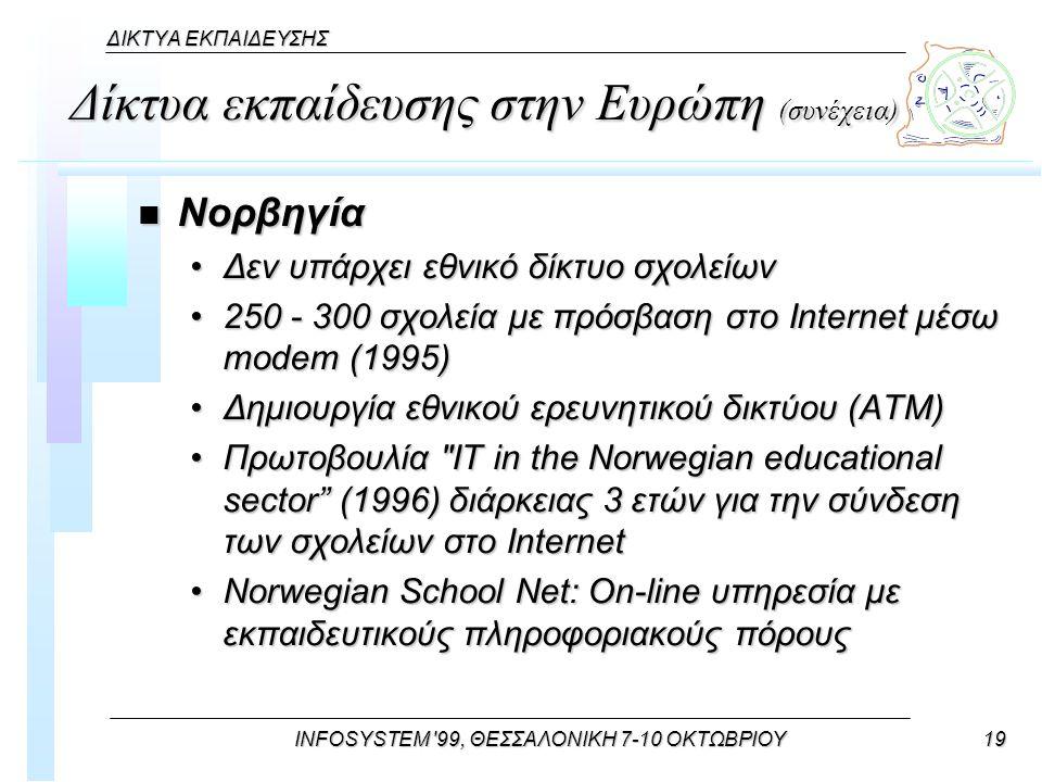 INFOSYSTEM 99, ΘΕΣΣΑΛΟΝΙΚΗ 7-10 ΟΚΤΩΒΡΙΟΥ19 ΔΙΚΤΥΑ ΕΚΠΑΙΔΕΥΣΗΣ Δίκτυα εκπαίδευσης στην Ευρώπη (συνέχεια) n Νορβηγία Δεν υπάρχει εθνικό δίκτυο σχολείωνΔεν υπάρχει εθνικό δίκτυο σχολείων 250 - 300 σχολεία με πρόσβαση στο Internet μέσω modem (1995)250 - 300 σχολεία με πρόσβαση στο Internet μέσω modem (1995) Δημιουργία εθνικού ερευνητικού δικτύου (ΑΤΜ)Δημιουργία εθνικού ερευνητικού δικτύου (ΑΤΜ) Πρωτοβουλία IT in the Norwegian educational sector (1996) διάρκειας 3 ετών για την σύνδεση των σχολείων στο InternetΠρωτοβουλία IT in the Norwegian educational sector (1996) διάρκειας 3 ετών για την σύνδεση των σχολείων στο Internet Norwegian School Net: On-line υπηρεσία με εκπαιδευτικούς πληροφοριακούς πόρουςNorwegian School Net: On-line υπηρεσία με εκπαιδευτικούς πληροφοριακούς πόρους