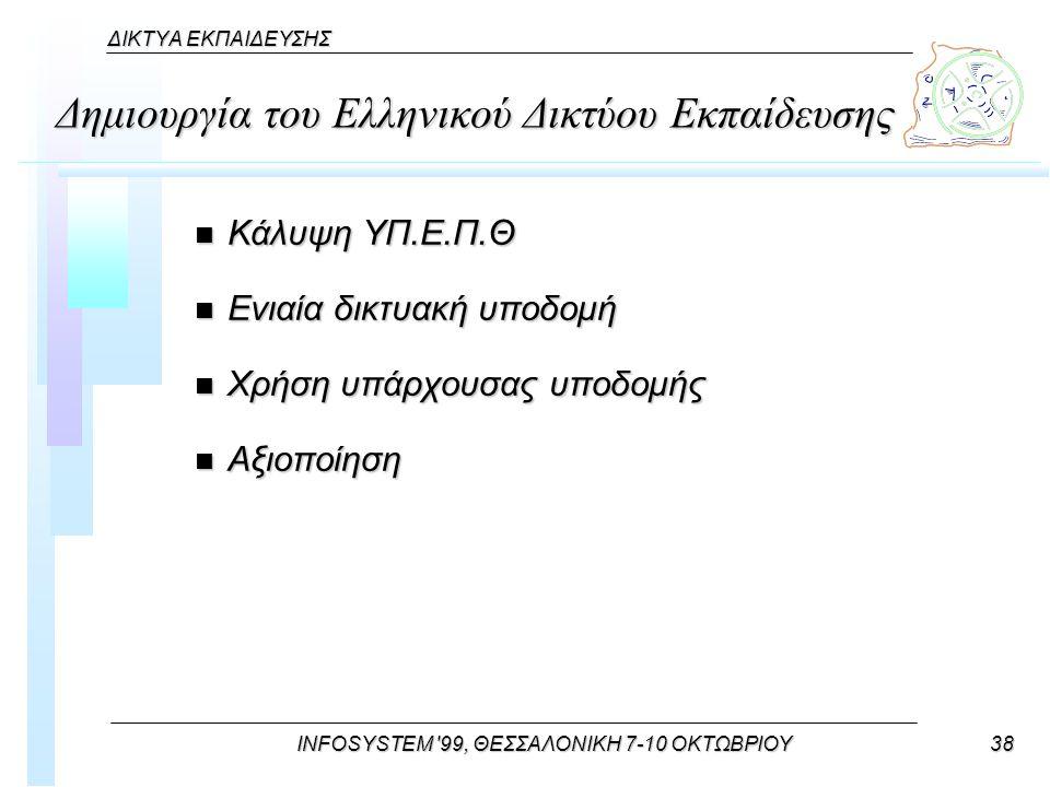 INFOSYSTEM 99, ΘΕΣΣΑΛΟΝΙΚΗ 7-10 ΟΚΤΩΒΡΙΟΥ38 ΔΙΚΤΥΑ ΕΚΠΑΙΔΕΥΣΗΣ Δημιουργία του Ελληνικού Δικτύου Εκπαίδευσης n Κάλυψη ΥΠ.Ε.Π.Θ n Ενιαία δικτυακή υποδομή n Χρήση υπάρχουσας υποδομής n Αξιοποίηση