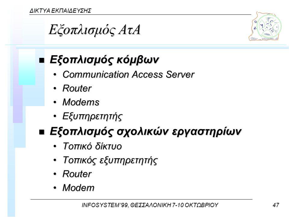 INFOSYSTEM 99, ΘΕΣΣΑΛΟΝΙΚΗ 7-10 ΟΚΤΩΒΡΙΟΥ47 ΔΙΚΤΥΑ ΕΚΠΑΙΔΕΥΣΗΣ Εξοπλισμός ΑτΑ n Εξοπλισμός κόμβων Communication Access ServerCommunication Access Server RouterRouter ModemsModems ΕξυπηρετητήςΕξυπηρετητής n Εξοπλισμός σχολικών εργαστηρίων Τοπικό δίκτυοΤοπικό δίκτυο Τοπικός εξυπηρετητήςΤοπικός εξυπηρετητής RouterRouter ModemModem