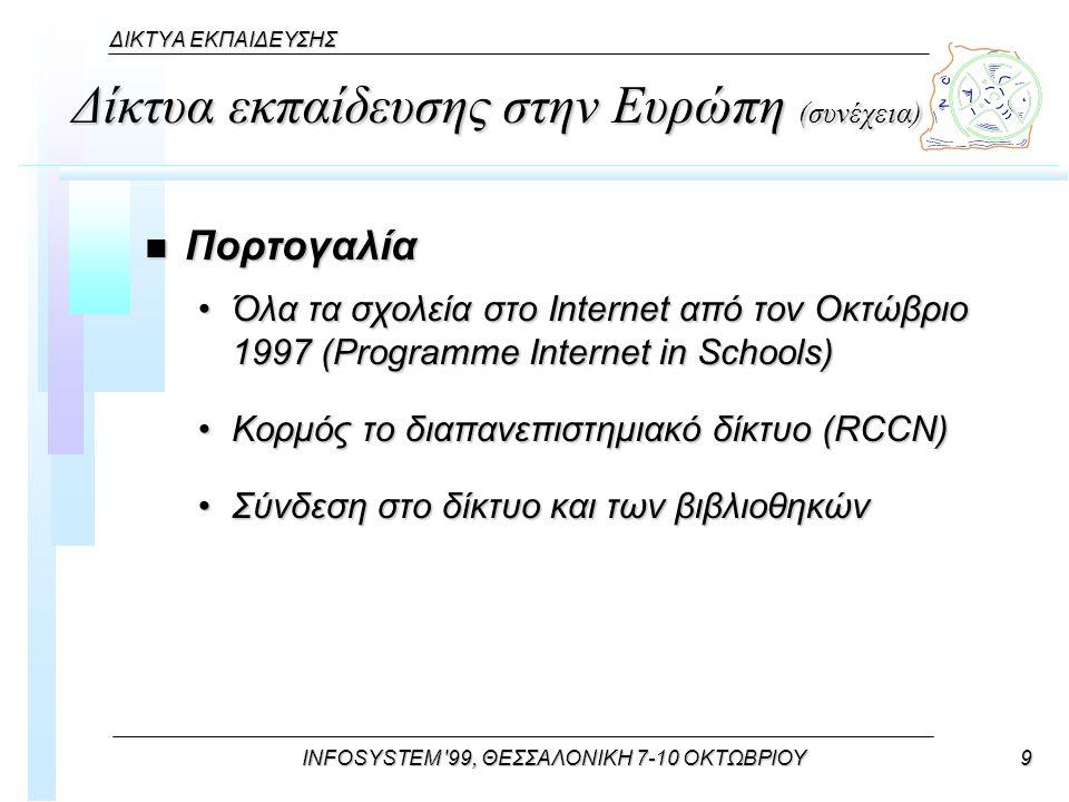 INFOSYSTEM 99, ΘΕΣΣΑΛΟΝΙΚΗ 7-10 ΟΚΤΩΒΡΙΟΥ9 ΔΙΚΤΥΑ ΕΚΠΑΙΔΕΥΣΗΣ Δίκτυα εκπαίδευσης στην Ευρώπη (συνέχεια) n Πορτογαλία Όλα τα σχολεία στο Internet από τον Οκτώβριο 1997 (Programme Internet in Schools)Όλα τα σχολεία στο Internet από τον Οκτώβριο 1997 (Programme Internet in Schools) Κορμός το διαπανεπιστημιακό δίκτυο (RCCN)Κορμός το διαπανεπιστημιακό δίκτυο (RCCN) Σύνδεση στο δίκτυο και των βιβλιοθηκώνΣύνδεση στο δίκτυο και των βιβλιοθηκών