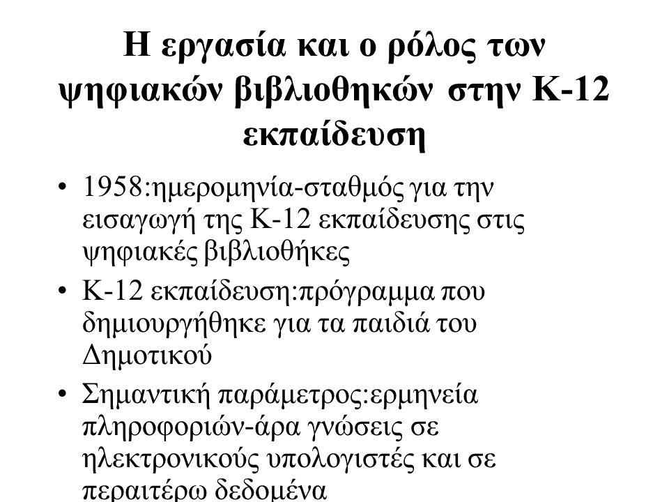 Η εργασία και ο ρόλος των ψηφιακών βιβλιοθηκών στην Κ-12 εκπαίδευση 1958:ημερομηνία-σταθμός για την εισαγωγή της Κ-12 εκπαίδευσης στις ψηφιακές βιβλιοθήκες Κ-12 εκπαίδευση:πρόγραμμα που δημιουργήθηκε για τα παιδιά του Δημοτικού Σημαντική παράμετρος:ερμηνεία πληροφοριών-άρα γνώσεις σε ηλεκτρονικούς υπολογιστές και σε περαιτέρω δεδομένα