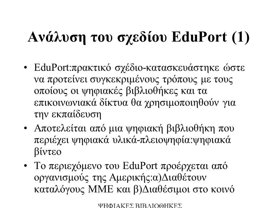 Ανάλυση του σχεδίου ΕduPort (1) EduPort:πρακτικό σχέδιο-κατασκευάστηκε ώστε να προτείνει συγκεκριμένους τρόπους με τους οποίους οι ψηφιακές βιβλιοθήκες και τα επικοινωνιακά δίκτυα θα χρησιμοποιηθούν για την εκπαίδευση Αποτελείται από μια ψηφιακή βιβλιοθήκη που περιέχει ψηφιακά υλικά-πλειοψηφία:ψηφιακά βίντεο Το περιεχόμενο του ΕduPort προέρχεται από οργανισμούς της Αμερικής:α)Διαθέτουν καταλόγους ΜΜΕ και β)Διαθέσιμοι στο κοινό ΨΗΦΙΑΚΕΣ ΒΙΒΛΙΟΘΗΚΕΣ