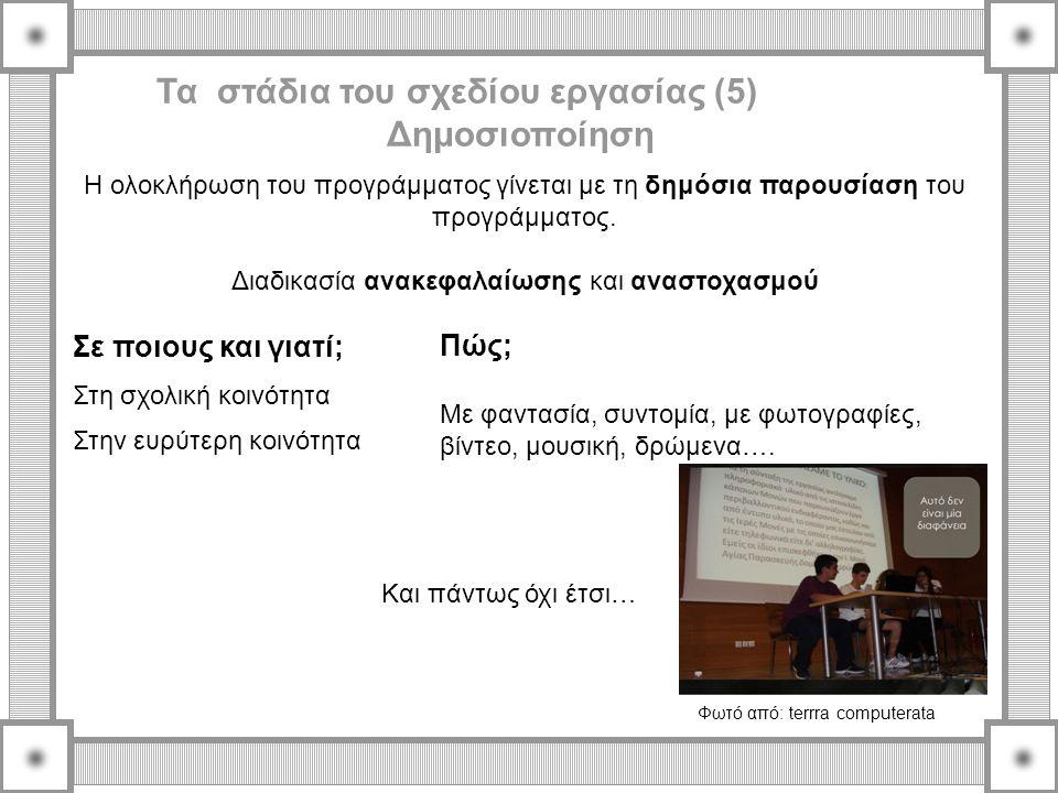 Τα στάδια του σχεδίου εργασίας (5) Δημοσιοποίηση Η ολοκλήρωση του προγράμματος γίνεται με τη δημόσια παρουσίαση του προγράμματος. Διαδικασία ανακεφαλα