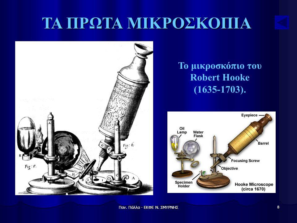 Παν. Πάλλα - ΕΚΦΕ Ν. ΣΜΥΡΝΗΣ 8 ΤΑ ΠΡΩΤΑ ΜΙΚΡΟΣΚΟΠΙΑ Το μικροσκόπιο του Robert Hooke (1635-1703).