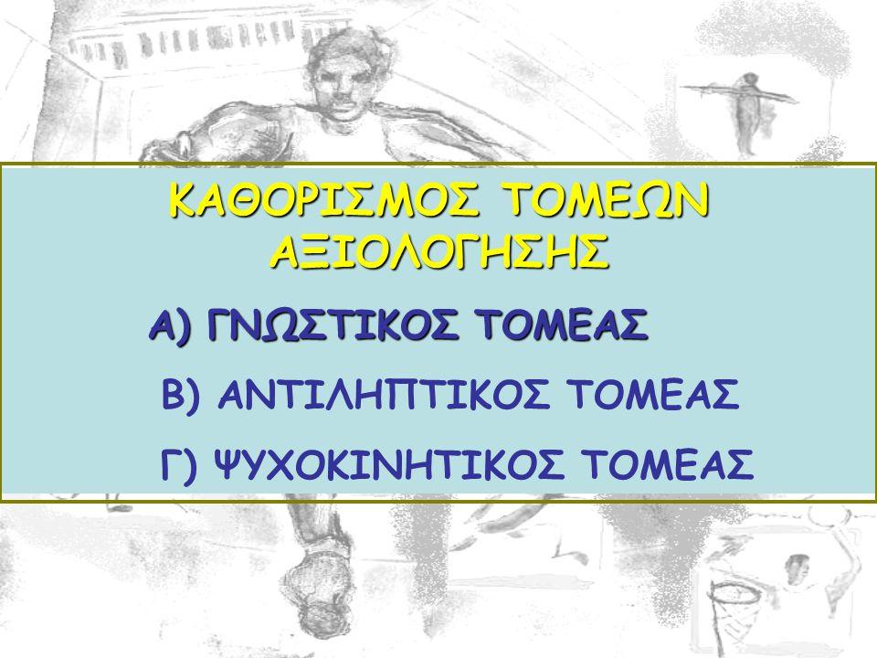 ΚΑΘΟΡΙΣΜΟΣ ΤΟΜΕΩΝ ΑΞΙΟΛΟΓΗΣΗΣ Α) ΓΝΩΣΤΙΚΟΣ ΤΟΜΕΑΣ Α) ΓΝΩΣΤΙΚΟΣ ΤΟΜΕΑΣ Β) ΑΝΤΙΛΗΠΤΙΚΟΣ ΤΟΜΕΑΣ Γ) ΨΥΧΟΚΙΝΗΤΙΚΟΣ ΤΟΜΕΑΣ