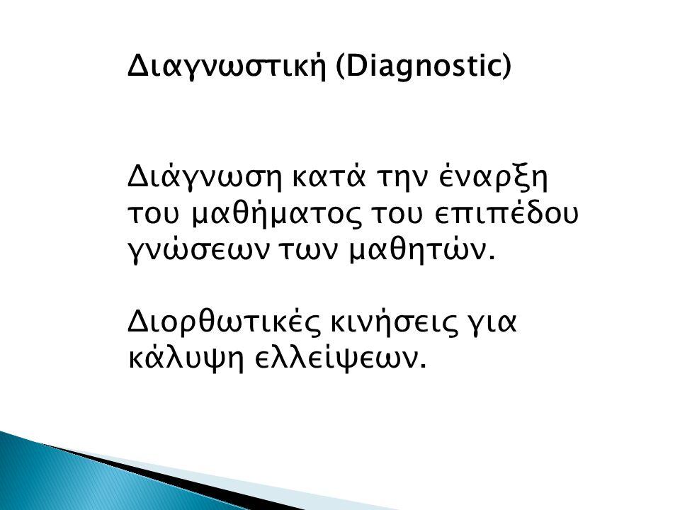 Διαγνωστική (Diagnostic) Διάγνωση κατά την έναρξη του μαθήματος του επιπέδου γνώσεων των μαθητών.
