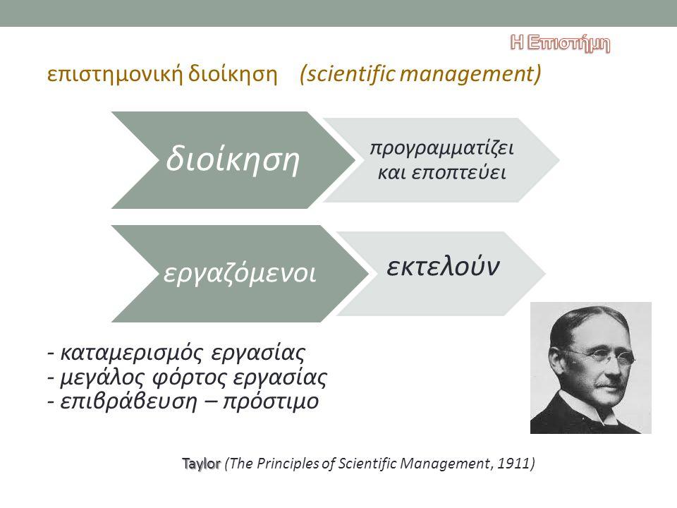 επιστημονική διοίκηση (scientific management) - καταμερισμός εργασίας - μεγάλος φόρτος εργασίας - επιβράβευση – πρόστιμο Taylor Taylor (The Principles