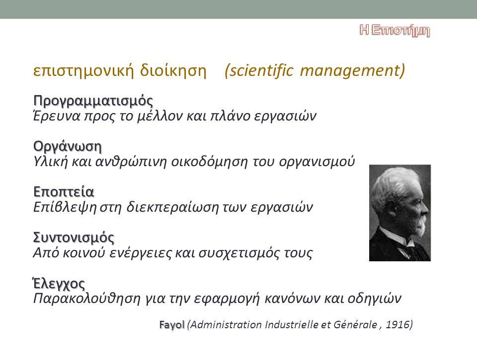 επιστημονική διοίκηση (scientific management)Προγραμματισμός Έρευνα προς το μέλλον και πλάνο εργασιώνΟργάνωση Υλική και ανθρώπινη οικοδόμηση του οργαν