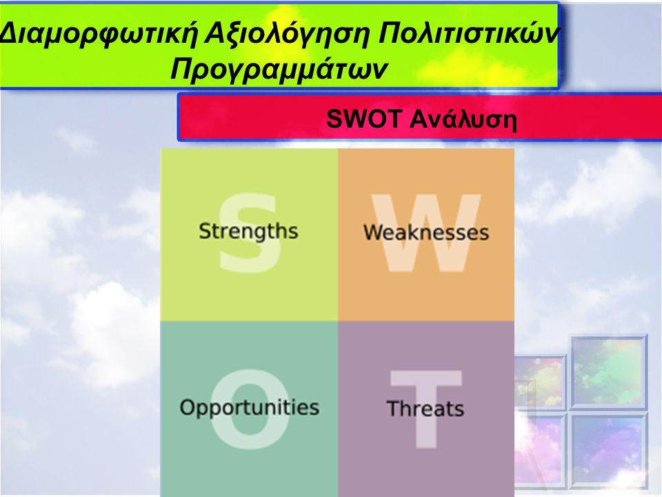Διαμορφωτική Αξιολόγηση Πολιτιστικών Προγραμμάτων SWOT Ανάλυση