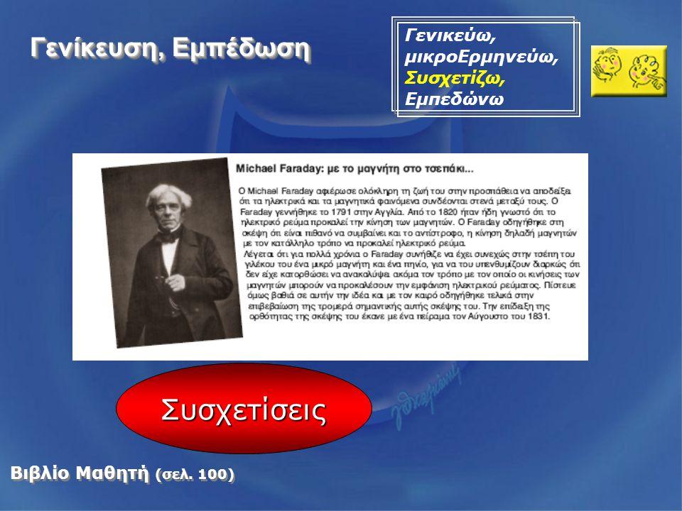 Βιβλίο Μαθητή (σελ. 100) Συσχετίσεις Γενίκευση, Εμπέδωση Γενικεύω, μικροΕρμηνεύω, Συσχετίζω, Εμπεδώνω