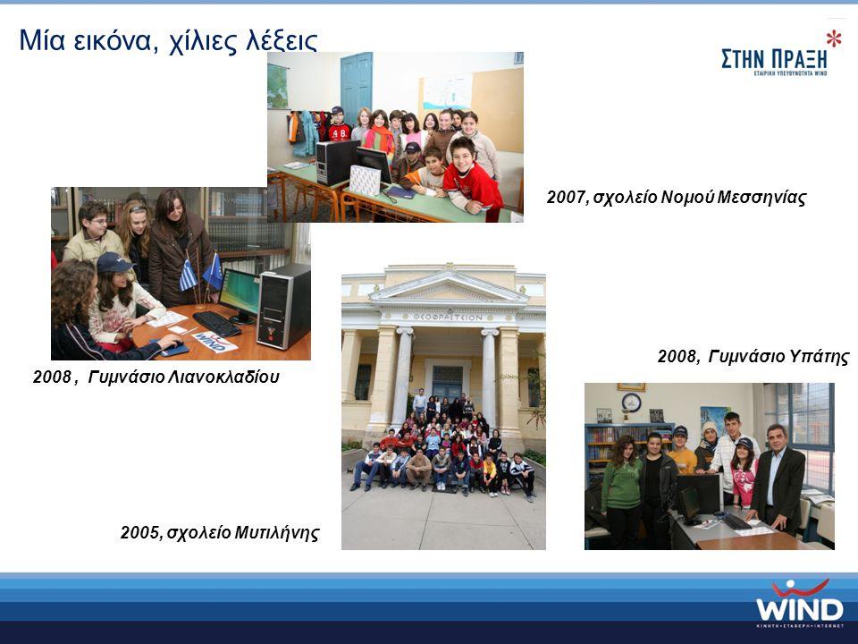 Μία εικόνα, χίλιες λέξεις 2008, Γυμνάσιο Λιανοκλαδίου 2008, Γυμνάσιο Υπάτης 2007, σχολείο Νομού Μεσσηνίας 2005, σχολείο Μυτιλήνης