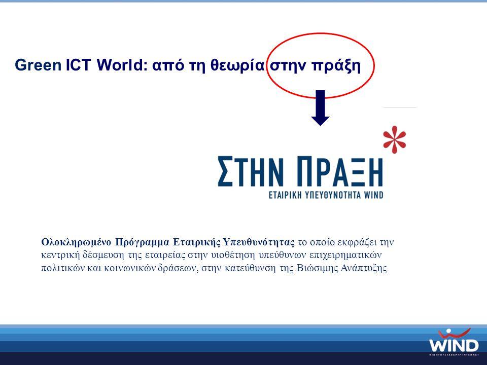 Green ICT World: από τη θεωρία στην πράξη Ολοκληρωμένο Πρόγραμμα Εταιρικής Υπευθυνότητας το οποίο εκφράζει την κεντρική δέσμευση της εταιρείας στην υιοθέτηση υπεύθυνων επιχειρηματικών πολιτικών και κοινωνικών δράσεων, στην κατεύθυνση της Βιώσιμης Ανάπτυξης