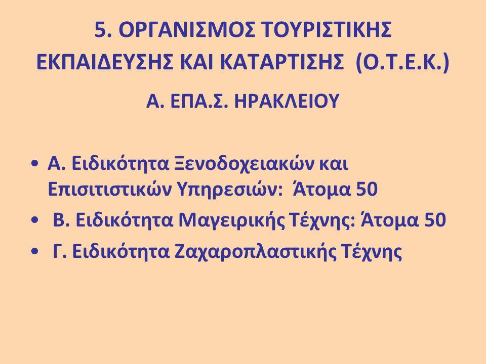 5. ΟΡΓΑΝΙΣΜΟΣ ΤΟΥΡΙΣΤΙΚΗΣ ΕΚΠΑΙΔΕΥΣΗΣ ΚΑΙ ΚΑΤΑΡΤΙΣΗΣ (Ο.Τ.Ε.Κ.) Α. ΕΠΑ.Σ. ΗΡΑΚΛΕΙΟΥ Α. Ειδικότητα Ξενοδοχειακών και Επισιτιστικών Υπηρεσιών: Άτομα 50