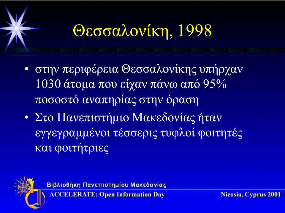 Θεσσαλονίκη, 1998 στην περιφέρεια Θεσσαλονίκης υπήρχαν 1030 άτομα που είχαν πάνω από 95% ποσοστό αναπηρίας στην όραση Στο Πανεπιστήμιο Μακεδονίας ήταν εγγεγραμμένοι τέσσερις τυφλοί φοιτητές και φοιτήτριες