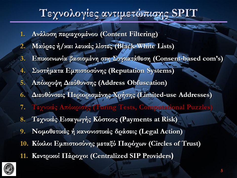 55 Τεχνολογίες αντιμετώπισης SPIT 1.Ανάλυση περιεχομένου (Content Filtering) 2.Μαύρες ή/και λευκές λίστες (Black-White Lists) 3.Επικοινωνία βασισμένη στη Συγκατάθεση (Consent-based com's) 4.Συστήματα Εμπιστοσύνης (Reputation Systems) 5.Απόκρυψη Διεύθυνσης (Address Obfuscation) 6.Διευθύνσεις Περιορισμένης Χρήσης (Limited-use Addresses) 7.Τεχνικές Απόκρισης (Turing Tests, Computational Puzzles) 8.Τεχνικές Εισαγωγής Κόστους (Payments at Risk) 9.Νομοθετικές ή κανονιστικές δράσεις (Legal Action) 10.Κύκλοι Εμπιστοσύνης μεταξύ Παρόχων (Circles of Trust) 11.Κεντρικοί Πάροχοι (Centralized SIP Providers )
