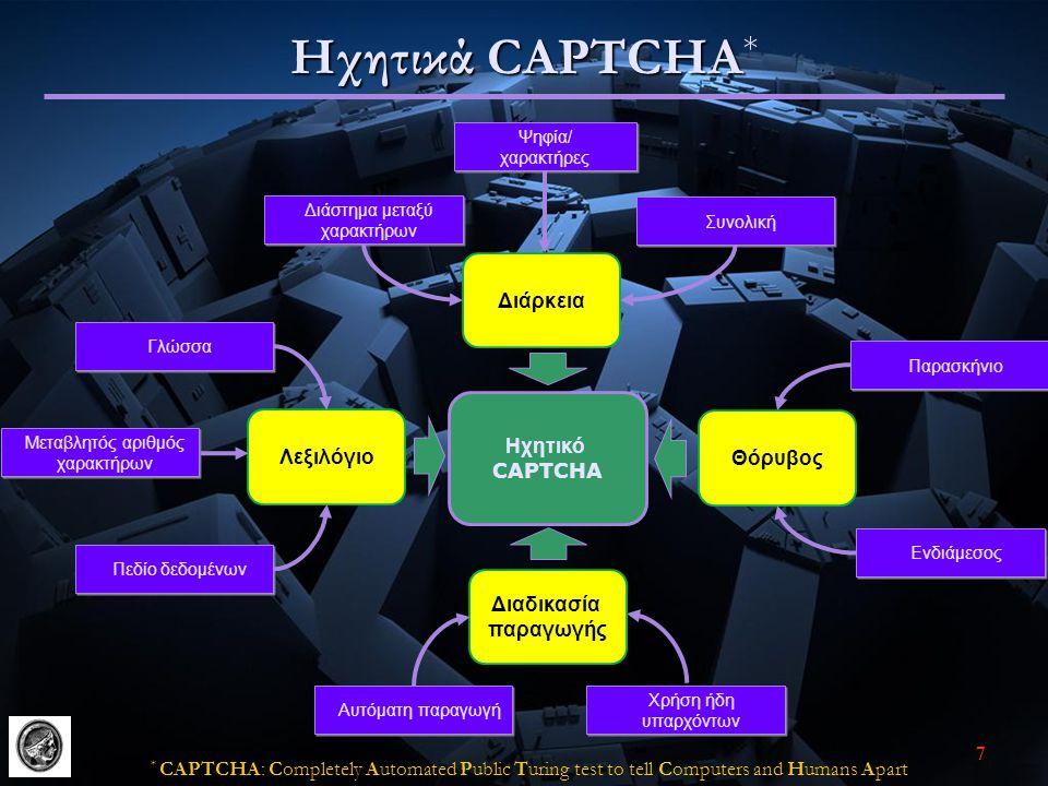 7 Ηχητικά CAPTCHA Ηχητικά CAPTCHA * Ηχητικό CAPTCHA Λεξιλόγιο Διάρκεια Γλώσσα Πεδίο δεδομένων Μεταβλητός αριθμός χαρακτήρων Μεταβλητός αριθμός χαρακτήρων Ψηφία/ χαρακτήρες Ψηφία/ χαρακτήρες Διάστημα μεταξύ χαρακτήρων Συνολική Ενδιάμεσος Διαδικασία παραγωγής Χρήση ήδη υπαρχόντων Αυτόματη παραγωγή Παρασκήνιο Θόρυβος * CAPTCΗA: Completely Automated Public Turing test to tell Computers and Humans Apart