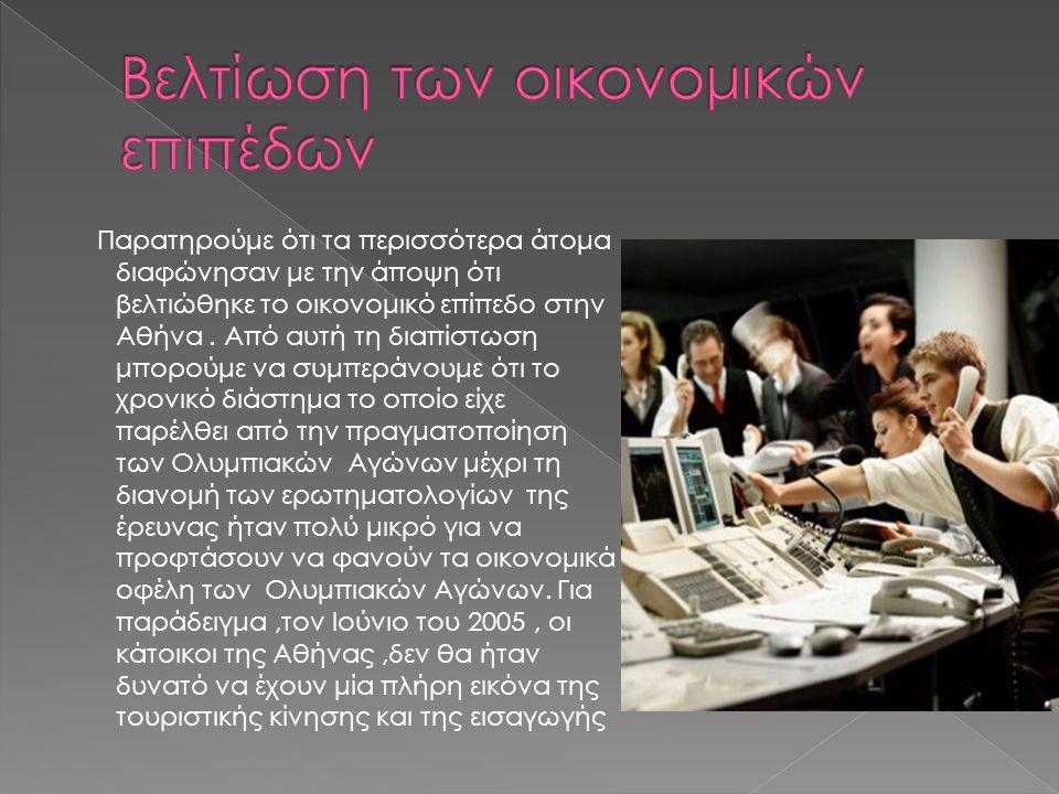 Παρατηρούμε ότι τα περισσότερα άτομα διαφώνησαν με την άποψη ότι βελτιώθηκε το οικονομικό επίπεδο στην Αθήνα.