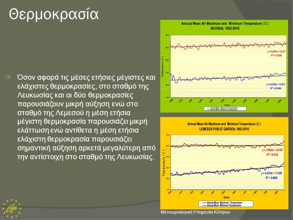Θερμοκρασία  Όσον αφορά τις μέσες ετήσιες μέγιστες και ελάχιστες θερμοκρασίες, στο σταθμό της Λευκωσίας και οι δύο θερμοκρασίες παρουσιάζουν μικρή αύ
