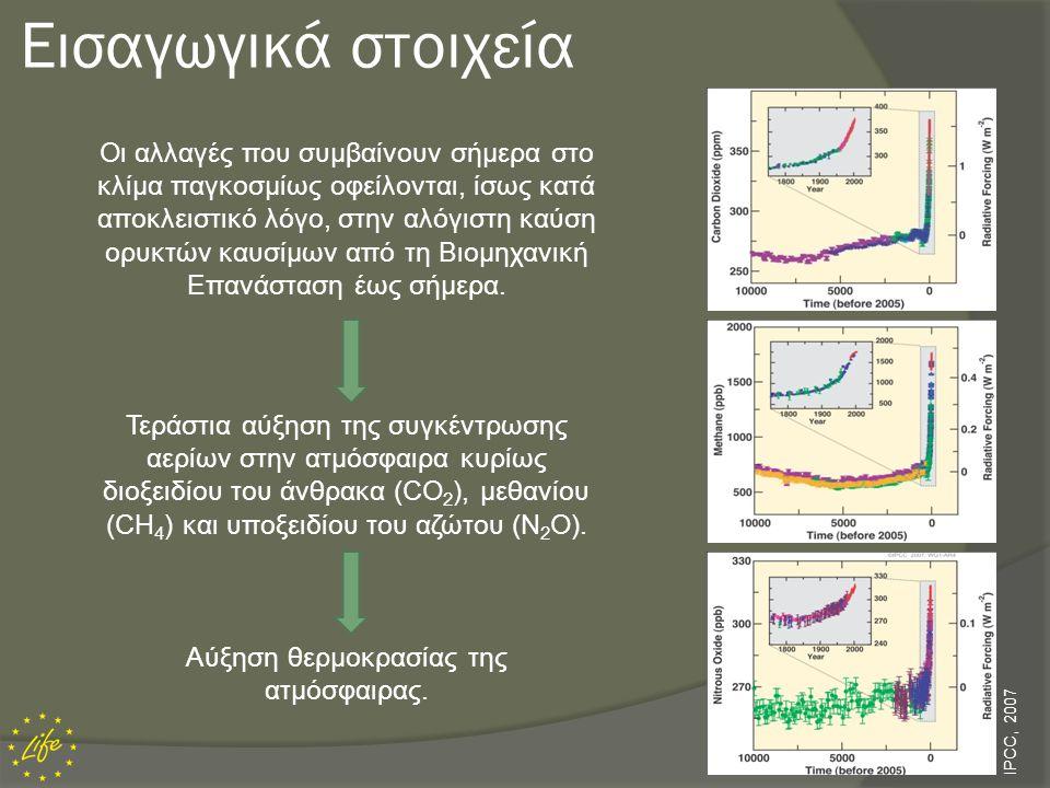 Αύξηση Θερμοκρασίας Ατμόσφαιρας  Σύμφωνα με τη Διακυβερνητική Επιτροπή για την Κλιματική Αλλαγή (IPCC, 2007) ο μέσος ρυθμός θέρμανσης της ατμόσφαιρας του πλανήτη κατά τον 20ό αιώνα ήταν 0,7 ο C ανά 100 χρόνια.