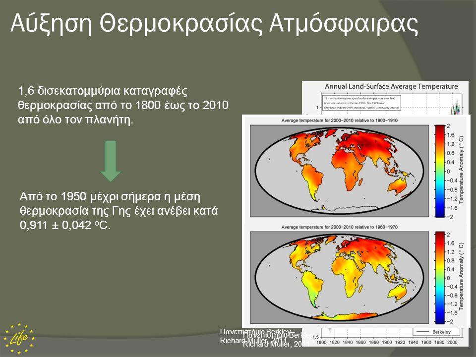 Αύξηση Θερμοκρασίας Ωκεανών  Η θερμοκρασία των ωκεανών παγκοσμίως έχει αυξηθεί κατά 0,10 o C από την επιφάνεια μέχρι τα 700 m βάθος.