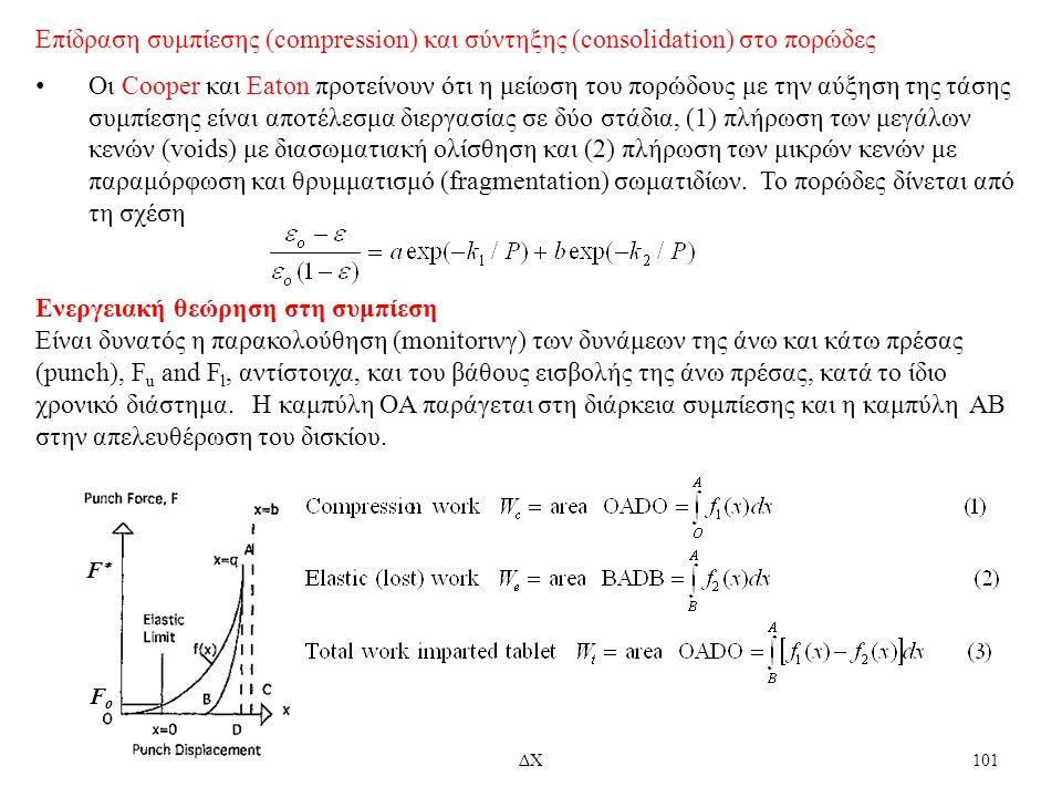 7/11/2012ΔΧ101 Επίδραση συμπίεσης (compression) και σύντηξης (consolidation) στο πορώδες Οι Cooper και Eaton προτείνουν ότι η μείωση του πορώδους με τ