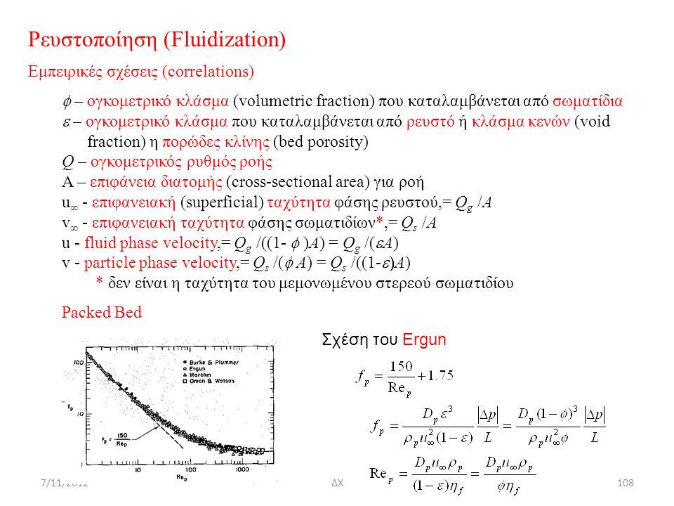 7/11/2012ΔΧ108 Σχέση του Ergun Ρευστοποίηση (Fluidization) Εμπειρικές σχέσεις (correlations)  – ογκομετρικό κλάσμα (volumetric fraction) που καταλαμ