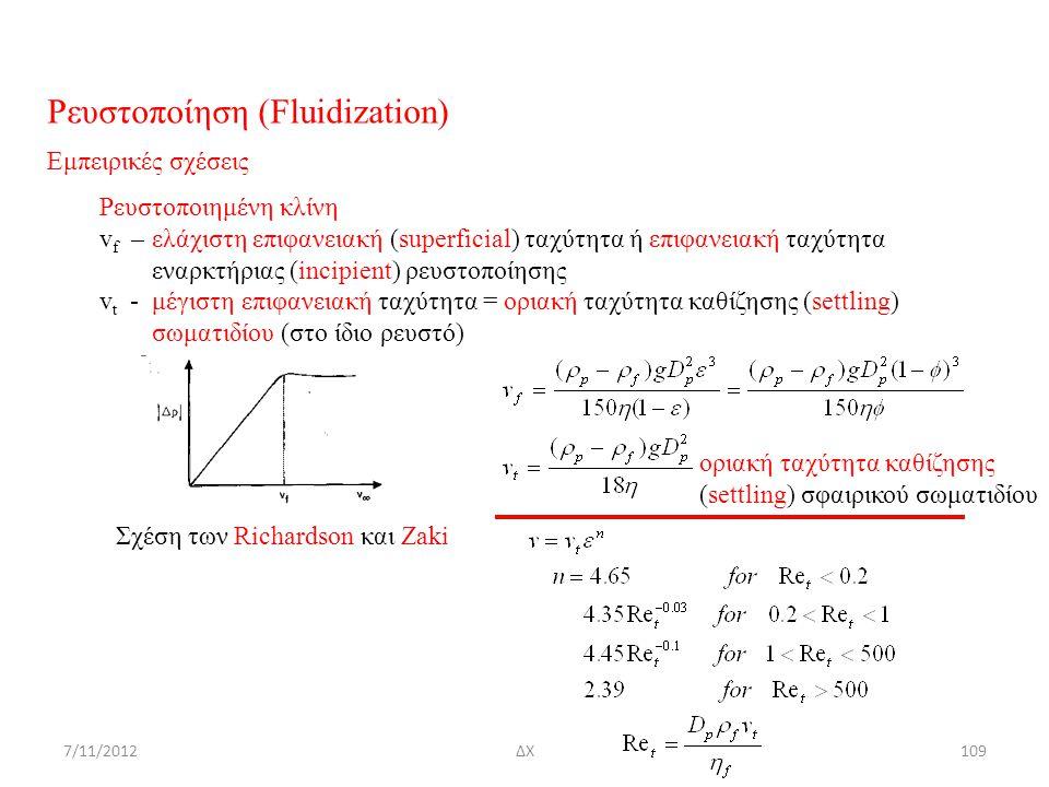 7/11/2012ΔΧ109 Ρευστοποίηση (Fluidization) Εμπειρικές σχέσεις Ρευστοποιημένη κλίνη v f – ελάχιστη επιφανειακή (superficial) ταχύτητα ή επιφανειακή ταχ
