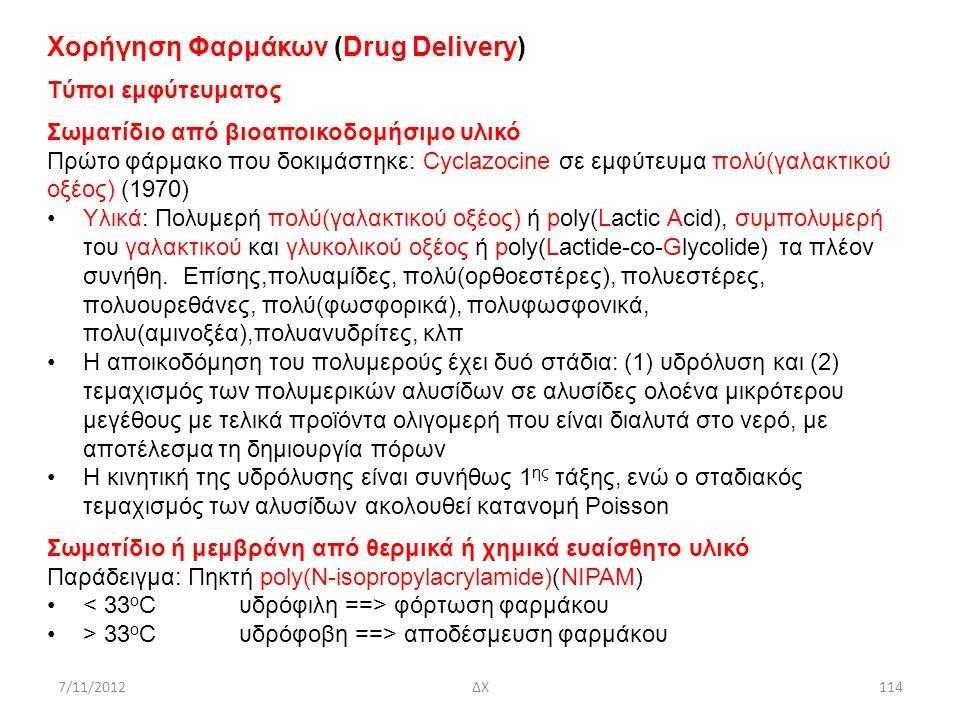 7/11/2012ΔΧ114 Χορήγηση Φαρμάκων (Drug Delivery) Tύποι εμφύτευματος Σωματίδιο από βιοαποικοδομήσιμο υλικό Πρώτο φάρμακο που δοκιμάστηκε: Cyclazocine σ