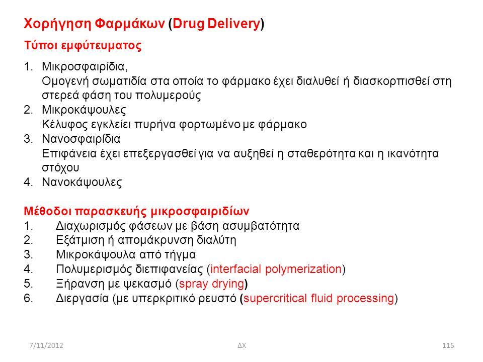 7/11/2012ΔΧ115 Χορήγηση Φαρμάκων (Drug Delivery) Tύποι εμφύτευματος 1.Mικροσφαιρίδια, Ομογενή σωματιδία στα οποία το φάρμακο έχει διαλυθεί ή διασκορπι