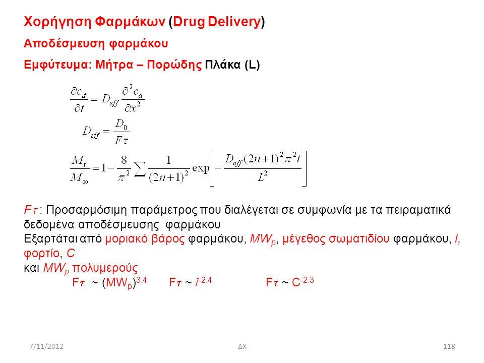 7/11/2012ΔΧ118 Χορήγηση Φαρμάκων (Drug Delivery) Αποδέσμευση φαρμάκου Εμφύτευμα: Μήτρα – Πορώδης Πλάκα (L) F  : Προσαρμόσιμη παράμετρος που διαλέγετ
