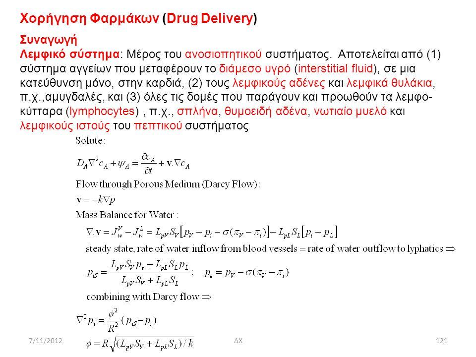 7/11/2012ΔΧ121 Χορήγηση Φαρμάκων (Drug Delivery) Συναγωγή Λεμφικό σύστημα: Μέρος του ανοσιοπητικού συστήματος. Αποτελείται από (1) σύστημα αγγείων που