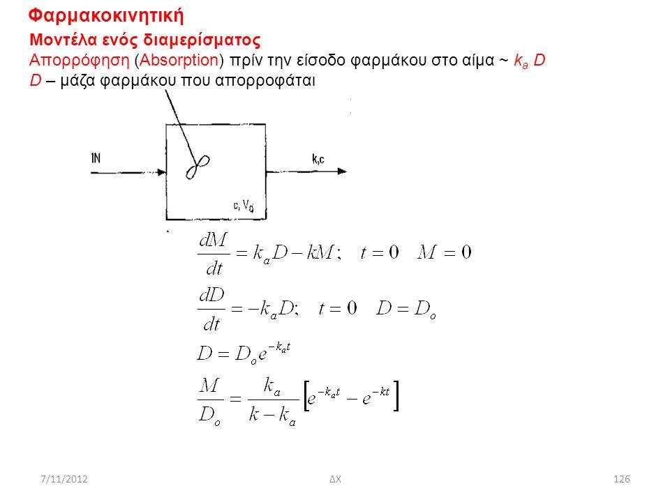 7/11/2012ΔΧ126 Φαρμακοκινητική Μοντέλα ενός διαμερίσματος Απορρόφηση (Absorption) πρίν την είσοδο φαρμάκου στο αίμα ~ k a D D – μάζα φαρμάκου που απορ