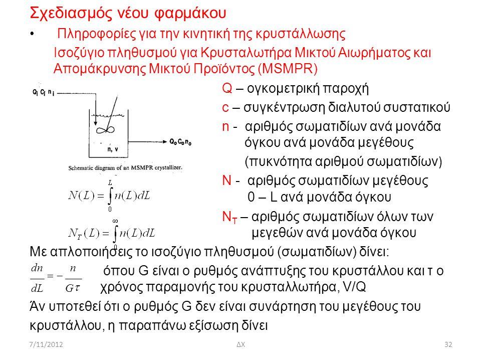 7/11/2012ΔΧ32 Σχεδιασμός νέου φαρμάκου Πληροφορίες για την κινητική της κρυστάλλωσης Ισοζύγιο πληθυσμού για Κρυσταλωτήρα Μικτού Αιωρήματος και Απομάκρ