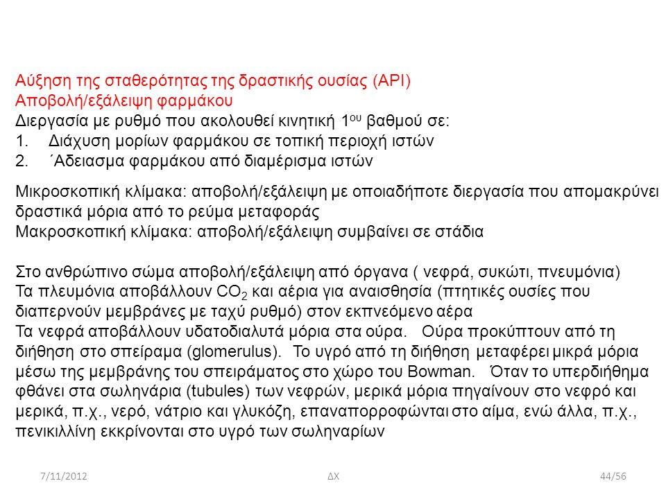 7/11/2012ΔΧ44/56 Αύξηση της σταθερότητας της δραστικής ουσίας (ΑΡΙ) Αποβολή/εξάλειψη φαρμάκου Διεργασία με ρυθμό που ακολουθεί κινητική 1 ου βαθμού σε