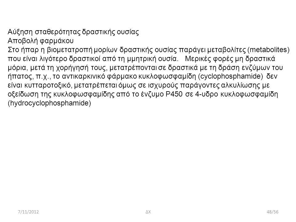 7/11/2012ΔΧ48/56 Αύξηση σταθερότητας δραστικής ουσίας Αποβολή φαρμάκου Στο ήπαρ η βιομετατροπή μορίων δραστικής ουσίας παράγει μεταβολίτες (metabolite