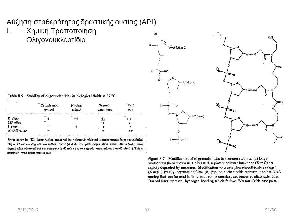 7/11/2012ΔΧ51/56 Aύξηση σταθερότητας δραστικής ουσίας (ΑΡΙ) I.Χημική Τροποποίηση Ολιγονουκλεοτίδια