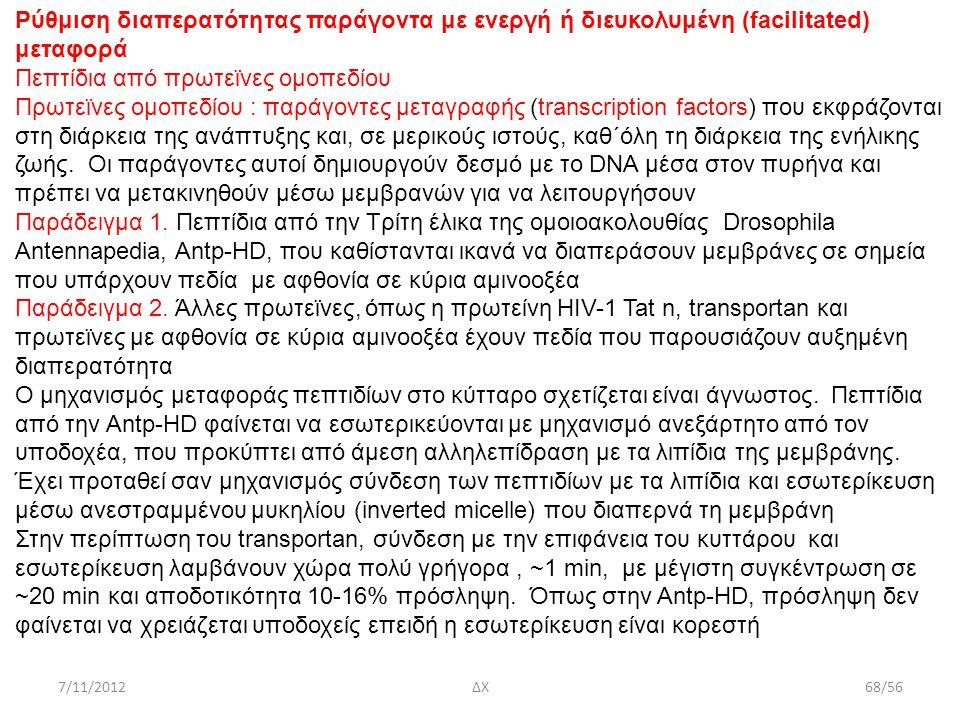 7/11/2012ΔΧ68/56 Ρύθμιση διαπερατότητας παράγοντα με ενεργή ή διευκολυμένη (facilitated) μεταφορά Πεπτίδια από πρωτεϊνες ομοπεδίου Πρωτεϊνες ομοπεδίου