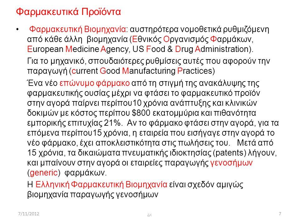 7/11/2012ΔΧ78 Φαρμακευτικά Προϊόντα Φάρμακο = Φαρμακευτικά Δραστική Ουσία + ΄Εκδοχα (για αύξηση διαλυτότητας, μείωση τριβής, αποσάθρωση, κλπ) Φαρμακευτικό Προϊόν = Φάρμακο + Συσκευασία Φαρμακευτικά δραστικές ουσίες (Αctive Pharmaceuticsal Ingredients) Αποκτώνται με τρείς τρόπους: (1) Απόσταγμα ή εκχύλισμα φυσικής προέλευσης, π.χ., Taxol από φλοιό ευρωπαϊκού πουρναριού), (2) Με χημική σύνθεση, π.χ., Prozac, και (3) Mε ζύμωση (fermentation), π.χ., πενικιλλίνη Έκδοχα (Εxcipients) Φαρμακευτικά Αδρανή Συστατικά, μεταφορείς των Φαρμακευτικά Δραστικών Συστατικών (ΑΡΙ) Aντικολητικά (Antiadherents) Για να μην κολλάνε οι κόκκοι στην πρέσσα δισκοποίησης.