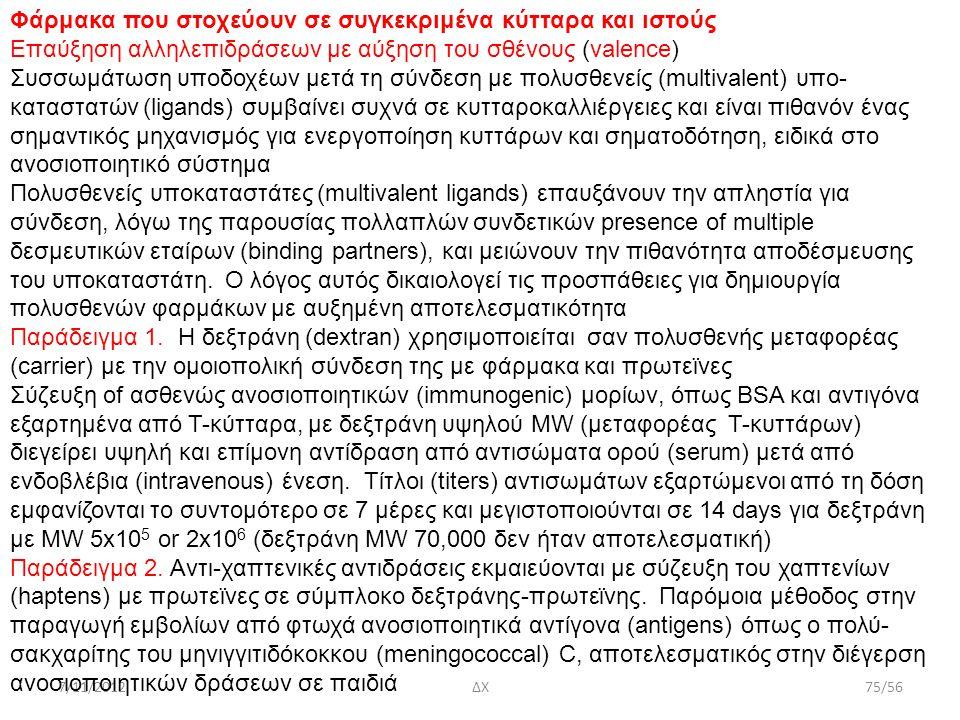 7/11/2012ΔΧ75/56 Φάρμακα που στοχεύουν σε συγκεκριμένα κύτταρα και ιστούς Επαύξηση αλληλεπιδράσεων με αύξηση του σθένους (valence) Συσσωμάτωση υποδοχέ