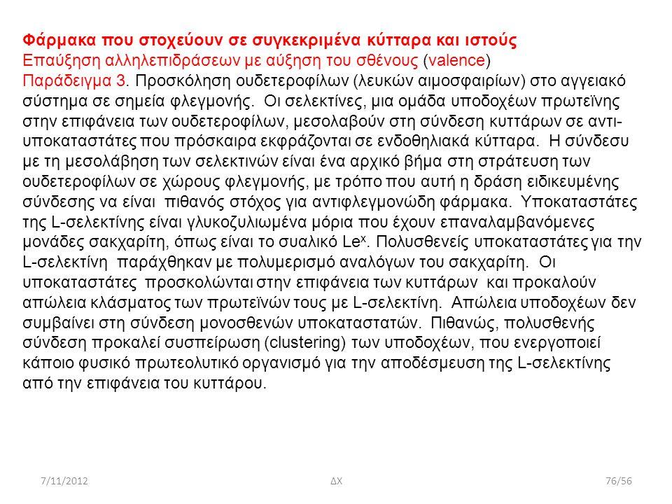 7/11/2012ΔΧ76/56 Φάρμακα που στοχεύουν σε συγκεκριμένα κύτταρα και ιστούς Επαύξηση αλληλεπιδράσεων με αύξηση του σθένους (valence) Παράδειγμα 3. Προσκ