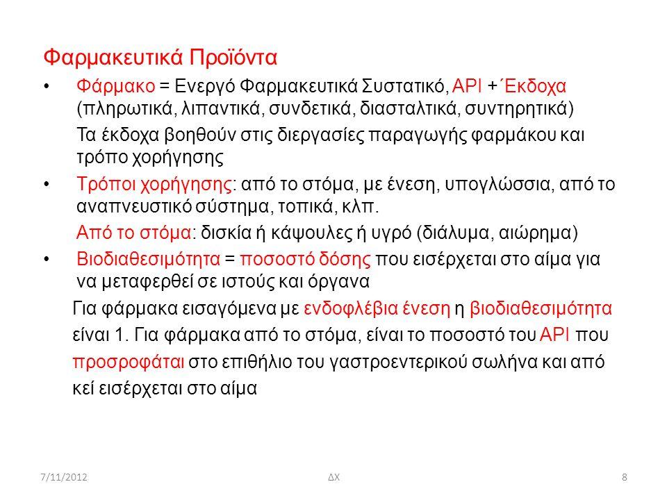 7/11/2012ΔΧ9 Σχεδιασμός Φαρμακευτικού Προϊόντος(Α P I + έκδοχα) 1.Ερευνα αγοράς (στατιστικές για συγκεκριμένη ασθένεια) 2.Mοντέλο ασθένειας – φαρμακευτική ουσία για την αντιμετώπιση της ασθένειας 3.Tρόπος απόκτησης (εκχύλιση φυσικού προϊόντος, χημική σύνθεση, ζύμωση) 4.Σταθεροποίηση ΑΡΙ (κρυστάλλωση) 5.Τύπος δόσης, π.χ., δισκίο, ένθεμα (implant), ενέσιμο ρευστό -Τρόπος χορήγησης (Drug Delivery), 6.Διαλυτότητα, βιοδιαθεσιμότητα 7.Δοσολογία, προδιαγραφές, παρενέργειες 8.Σχεδιασμός Διεργασιών (Plant Design, περιβαλλοντολογικά και ασφάλεια) - Κοκκώδη υλικά 9.Μελέτη κόστους 10.Προστασία πνευματικής ιδιοκτησίας 11.Πιστοποίηση