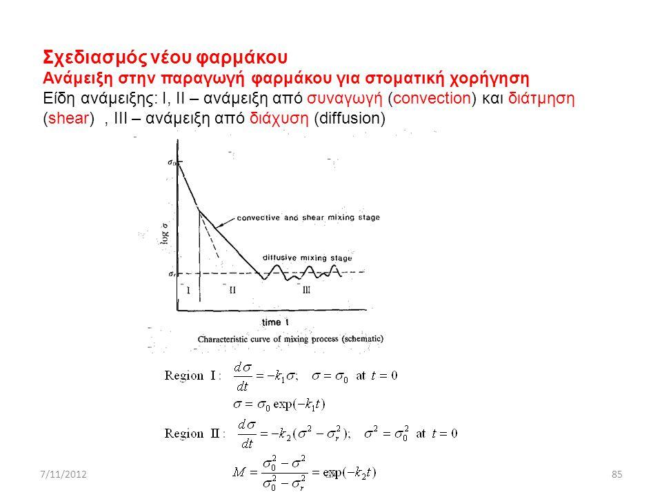 7/11/2012ΔΧ85 Σχεδιασμός νέου φαρμάκου Ανάμειξη στην παραγωγή φαρμάκου για στοματική χορήγηση Είδη ανάμειξης: I, II – ανάμειξη από συναγωγή (convectio
