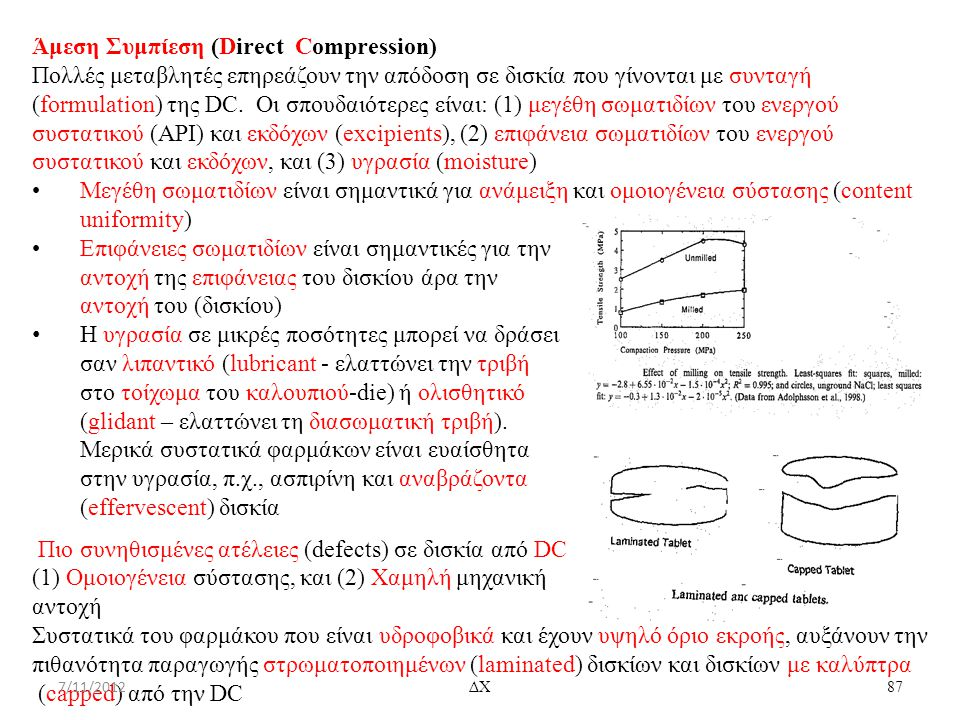 Άμεση Συμπίεση (Direct Compression) Πολλές μεταβλητές επηρεάζουν την απόδοση σε δισκία που γίνονται με συνταγή (formulation) της DC. Οι σπουδαιότερες