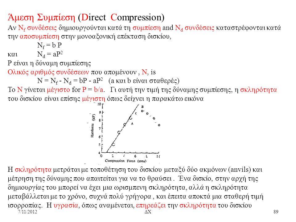 7/11/2012ΔΧ89 Άμεση Συμπίεση (Direct Compression) Aν N f συνδέσεις δημιουργούνται κατά τη συμπίεση and N d συνδέσεις καταστρέφονται κατά την αποσυμπίε