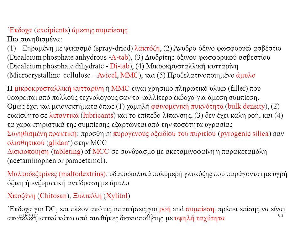 7/11/2012ΔΧ90 ΄Εκδοχα (excipients) άμεσης συμπίεσης Πιο συνηθισμένα: (1)Ξηραμένη με ψεκασμό (spray-dried) λακτόζη, (2) Άνυδρο όξινο φωσφορικό ασβέστιο
